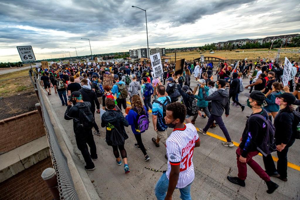 A protest  demanding justice for Elijah McClain has taken over I-225. July 25, 2020.