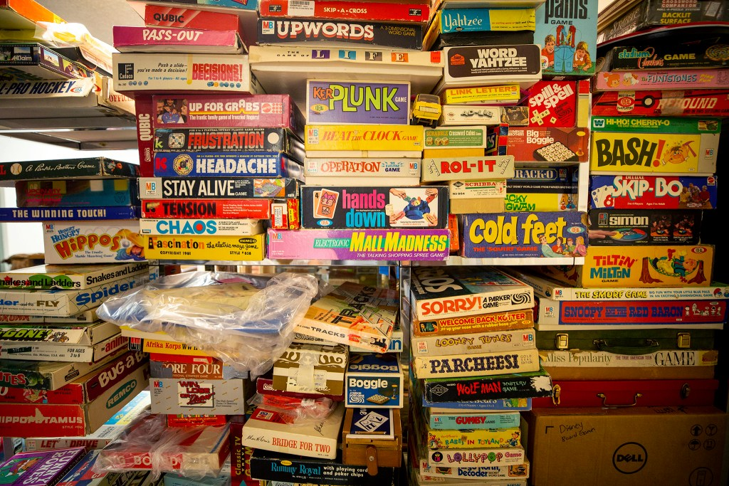 Some of the many boardgames in thhe Denver Museum of Miniatures, Toys and Dolls' collection, not yet on display in their new Lakewood location. July 28, 2020.