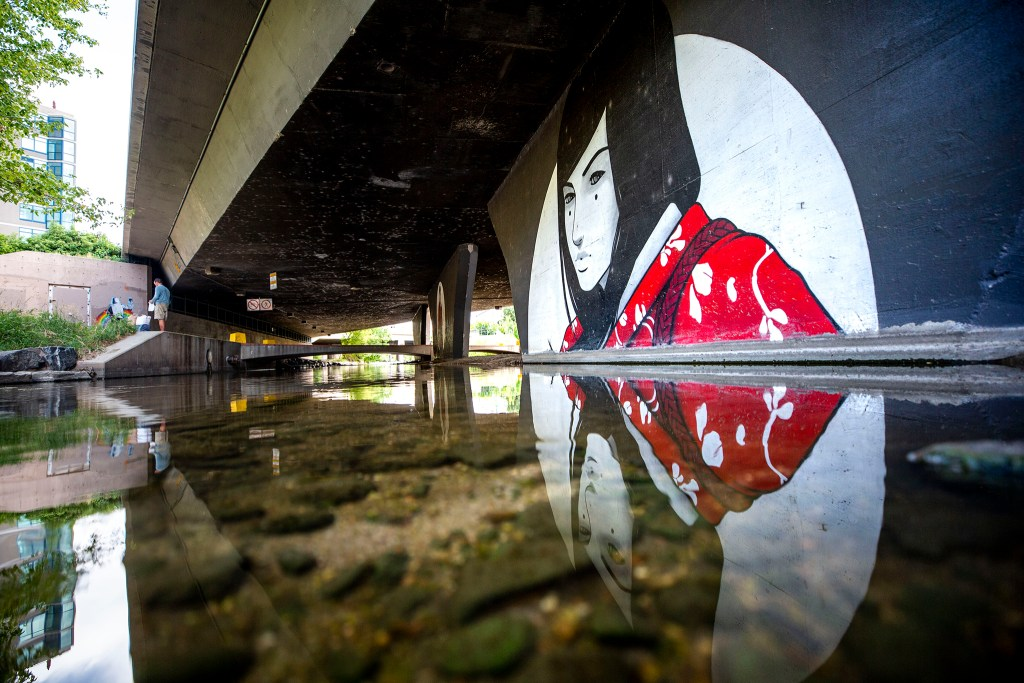 Artwork by Casey Kawaguchi beneath Speer Boulevard, by Larimer Street, on the Cherry Creek Trail. Aug. 12, 2020.