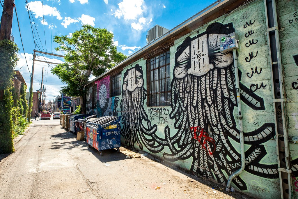 A mural by GATS in an alley behind the Meadowlark on Larimer Street. Aug. 12, 2020.