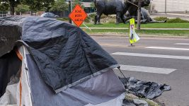One of about two dozen tents near the Denver Art Museum on Aug. 10, 2020. A cleanup of the area has been scheduled for Aug. 17, 2020. (Donna Bryson/Denverite)