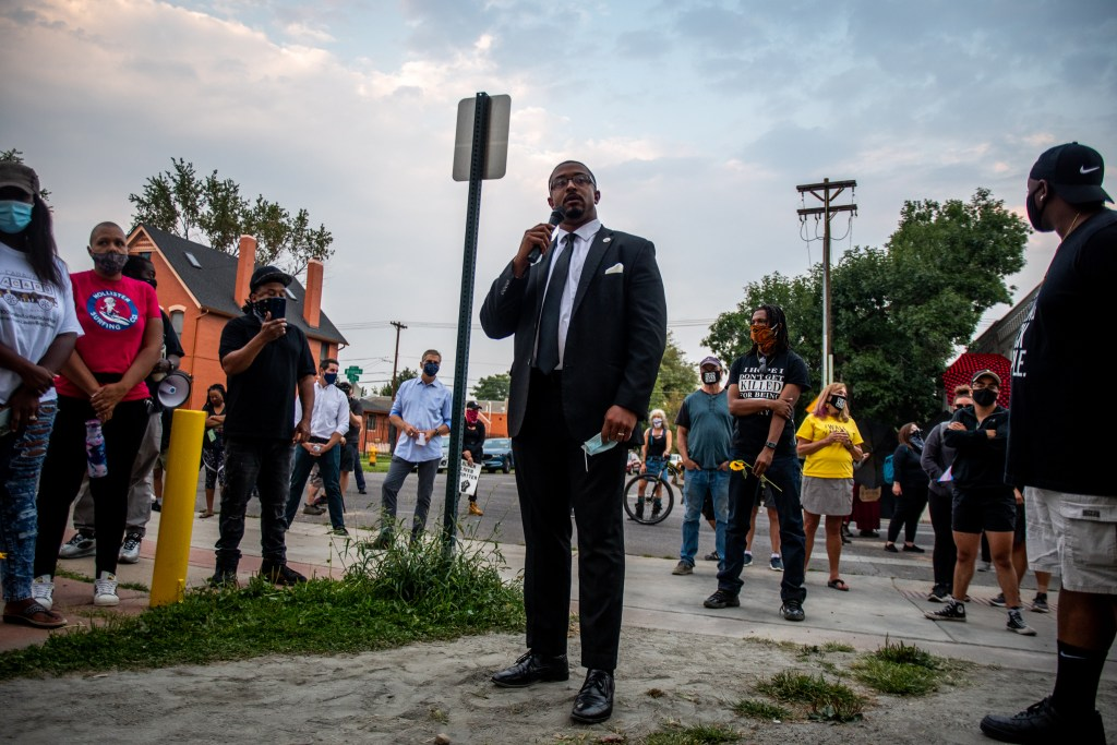 "Democratic Rep. James Coleman of District 7 speaks during the ""Protect Black Men: Colorado Action for Jacob Blake"" gathering at Manual High School in Denver. Rep. Coleman said he was exhausted trying to do everything the ""right"" way and it seeming to not make a difference."