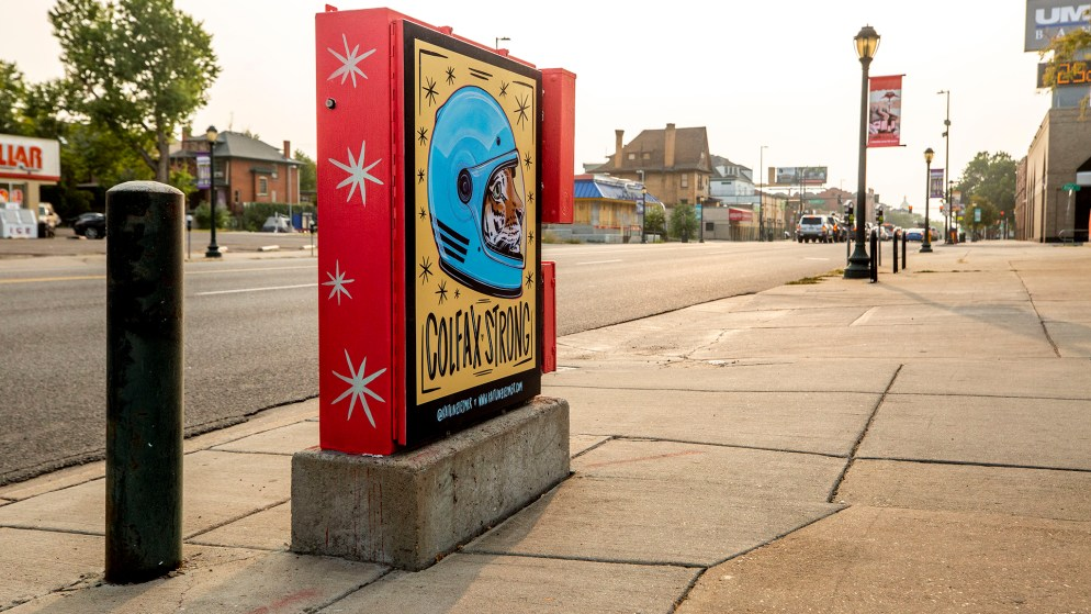 """""""Colfax Strong"""" art by Kaitlin Zeismer on a East Colfax Avenue electric box. Sept. 16, 2020."""
