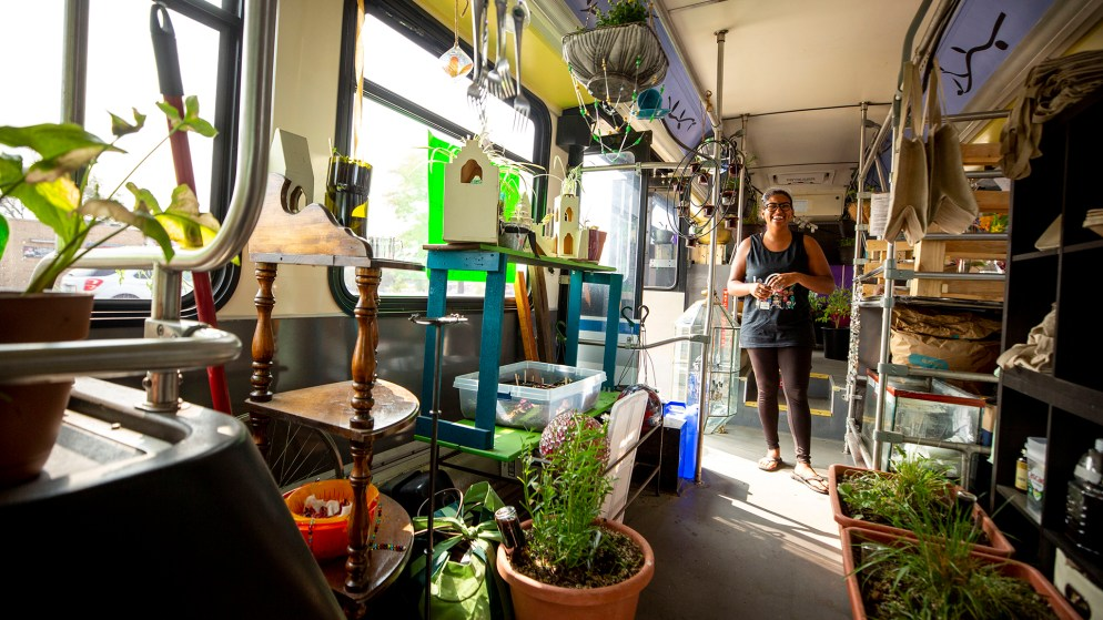 Taylor Best-Anderson at work inside Seeds of Potential, Wompost's mobile plant store, currently parked at Montview Boulevard at Clinton Street. Sept. 17, 2020.