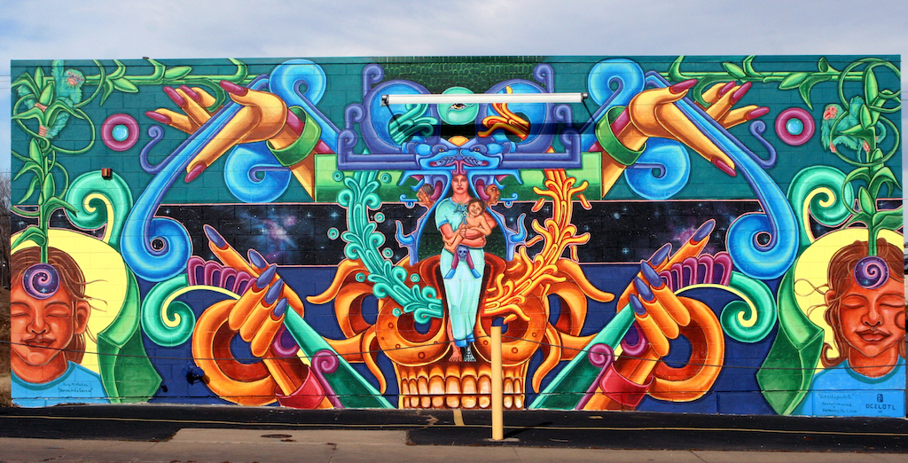 "David Garcia Ocelotl's ""Huitzilopochtli"" which was painted over in April 2020. (Photo courtesy of David Garcia)"