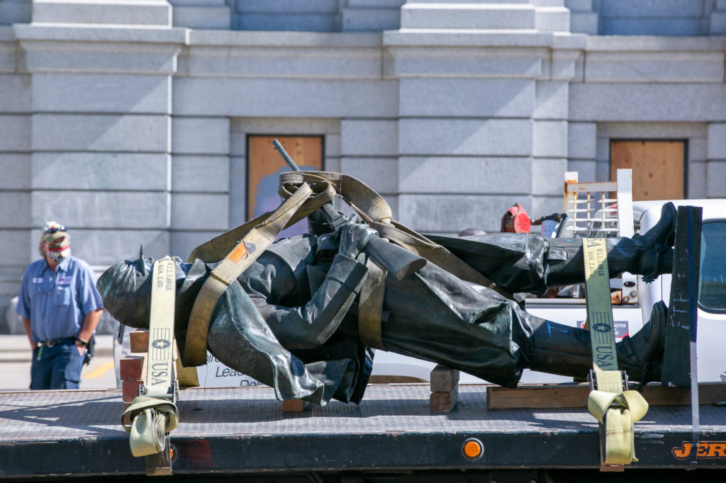 A monument at the Colorado state Capitol remembering the 1st Colorado Cavalry who fought and died in the Civil War was torn down early Thursday morning.