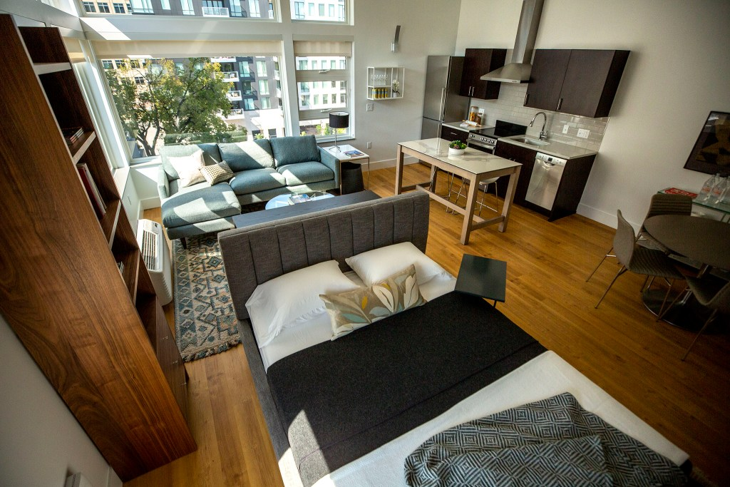 A staged micro apartment at 135 Adams St. in Cherry Creek. Sept. 30, 2020.