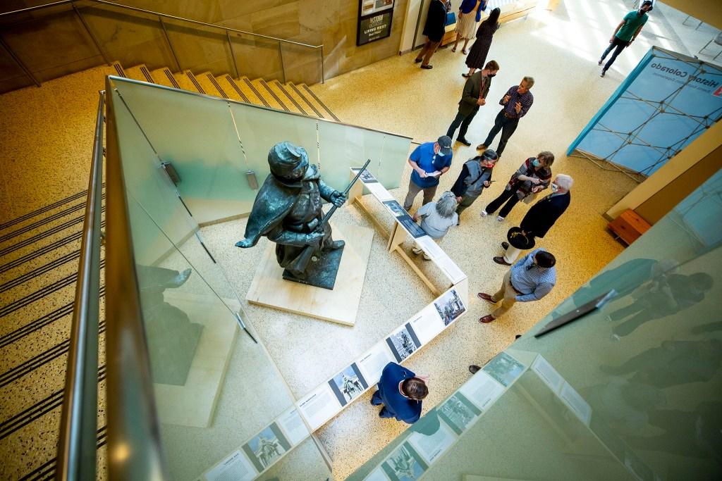 The History Colorado Center announces the Civil War monument that once stood on the State Capitol's west steps will live here in the museum for a year. Oct. 14, 2020.