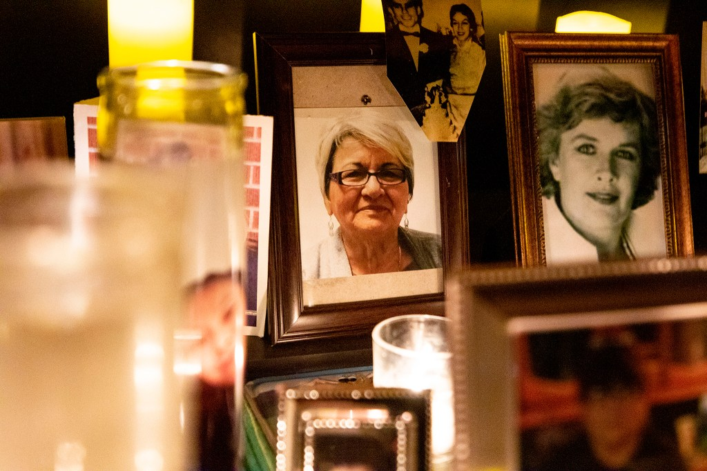 """Leonarda """"Nina"""" Cabazos is memorialized in the ofrenda Paul Stephens and Christopher Jorgenson built on their front porch in Harvey Park. Oct. 29, 2020."""