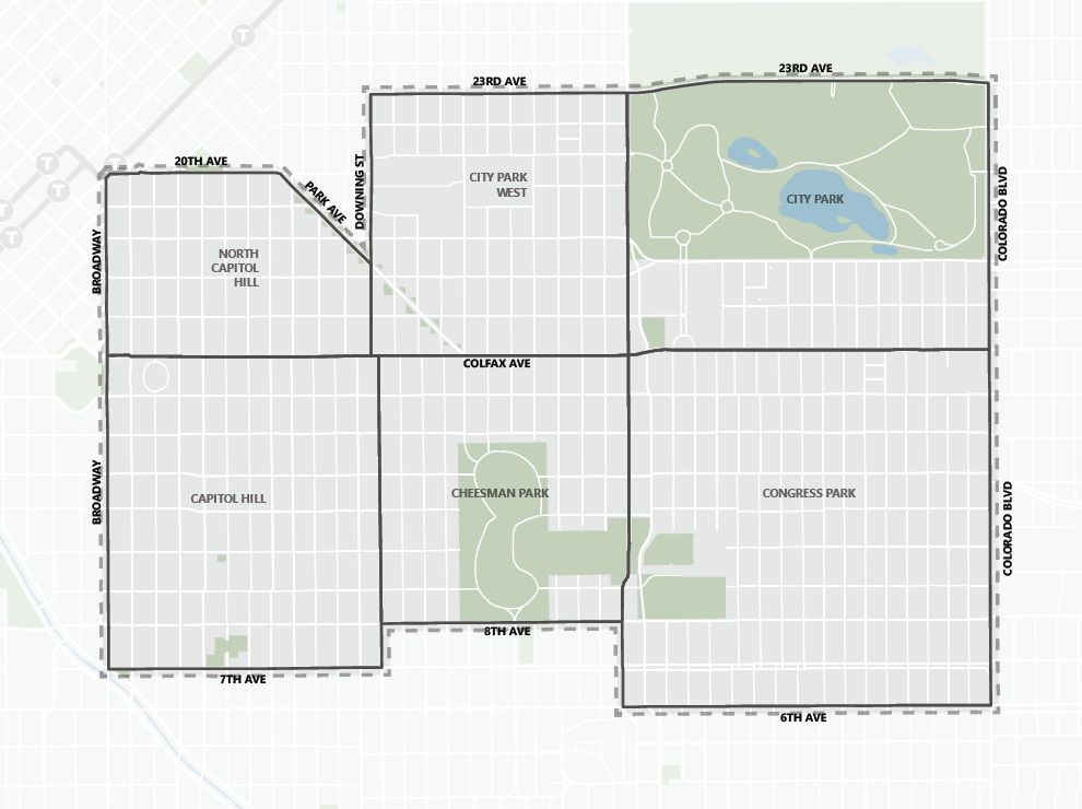 The geographical area of the East Central Area Plan. (City and County of Denver)