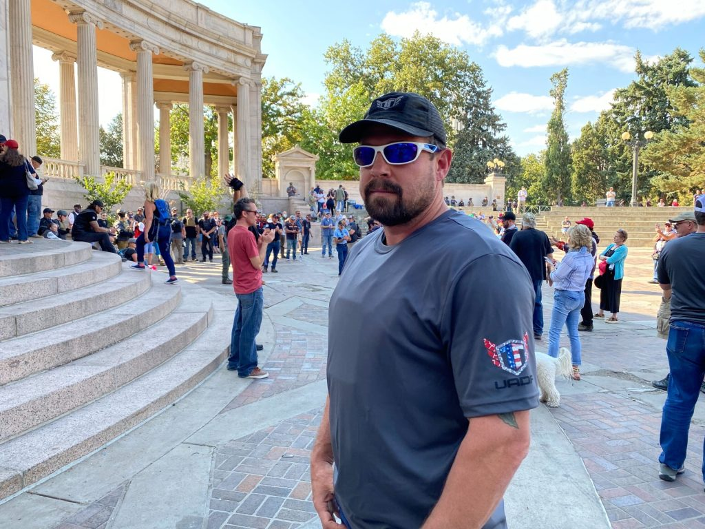 """John """"Tig"""" Tiegen, an El Paso County resident and supporter of President Donald Trump, organized what he called a """"patriot muster"""" in Denver on Saturday, Oct. 10, 2020."""