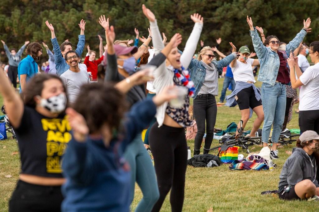 "Denverites celebrating Joe Biden's presidential victory at Cheesman Park to the ""YMCA."" Nov. 7, 2020."