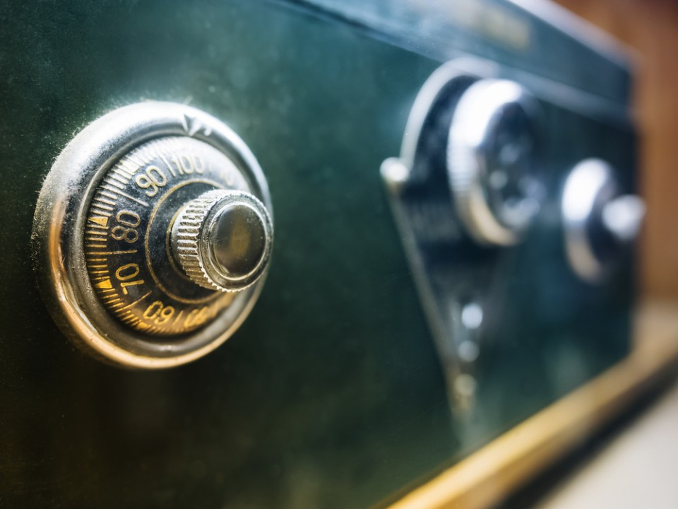 Safe lock on bank safety box