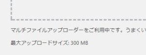 アップロードサイズ300MB