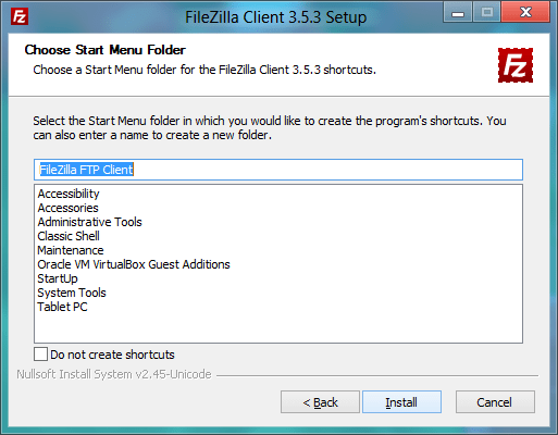 FileZilla Installer - Choosing Start Menu Folder