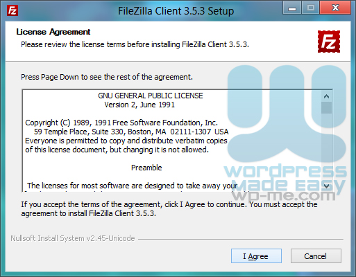 FileZilla Installer license