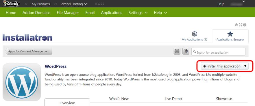 Installing WordPress - Installatron Applications Browser