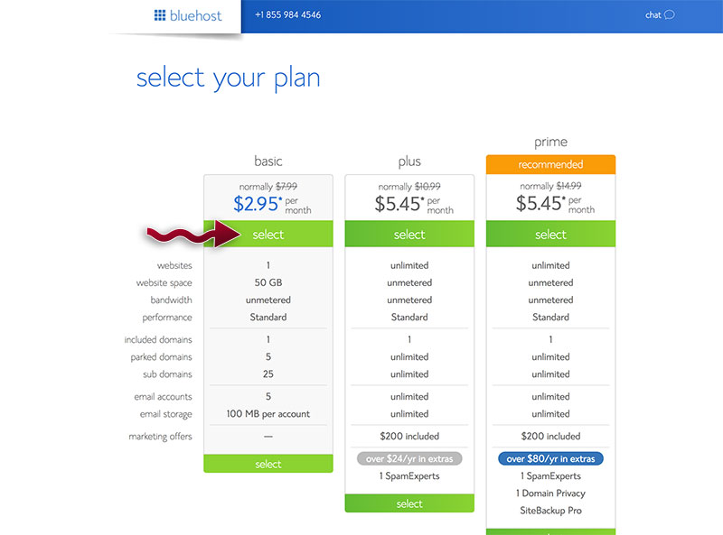 Create a blog - Select Bluehost hosting plan
