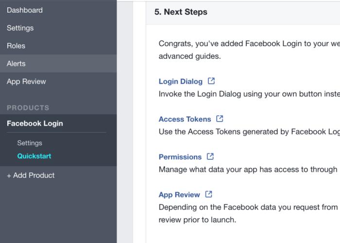 Facebook Login Settings Link