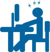 Drawing of a person seated at a computer with frustration lightning marks above her head