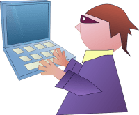 Drawing of a masked person typing on a computer keyboard