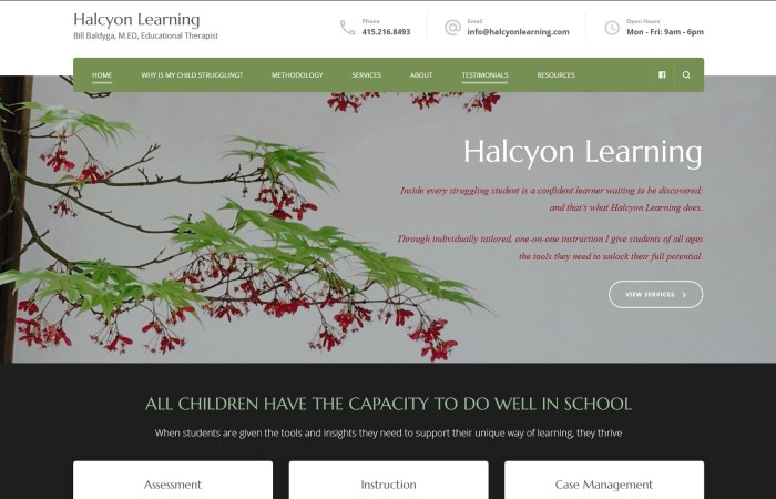 Home page of Halcyon Learning
