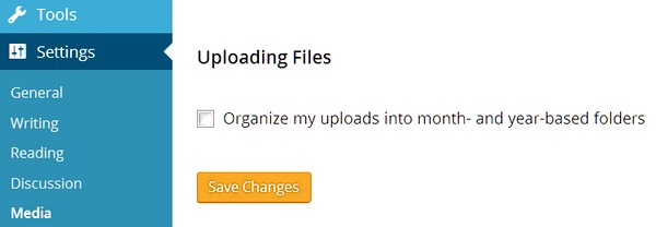 """A picture of the checkbox for """"Organize my uploads into month- and year-based folders"""" on the Media Settings page of the WordPress dashboard"""