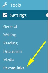 The Settings menu near the bottom of the WordPress dashboard, open to show the submenus, with an arrow pointing to the Permalinks submenu