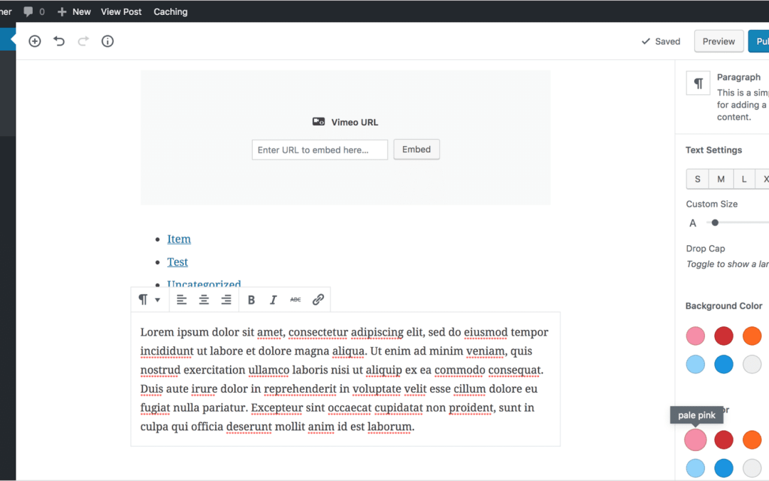 Adding paragraph text in Gutenberg