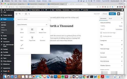 Column block in WordPress Gutenberg