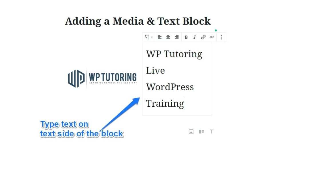 Adding a Media & Text Block in Gutenberg