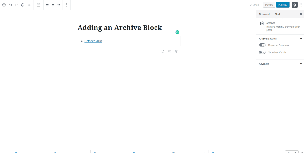 Adding the Archive Widget to Gutenberg- WordPress 5.0
