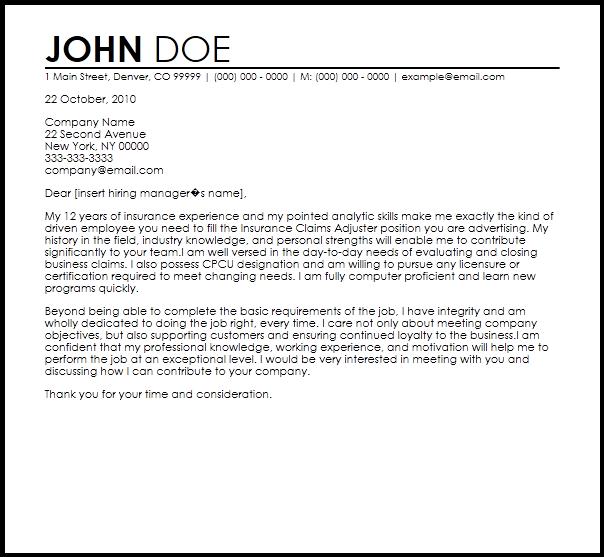 Sle Claim Adjuster Resume