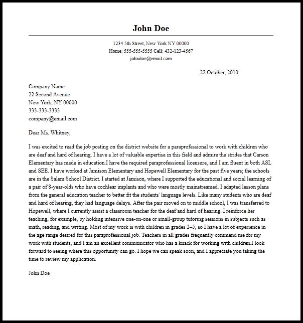 Cover Paraeducator Letter Paraprofessional Resume