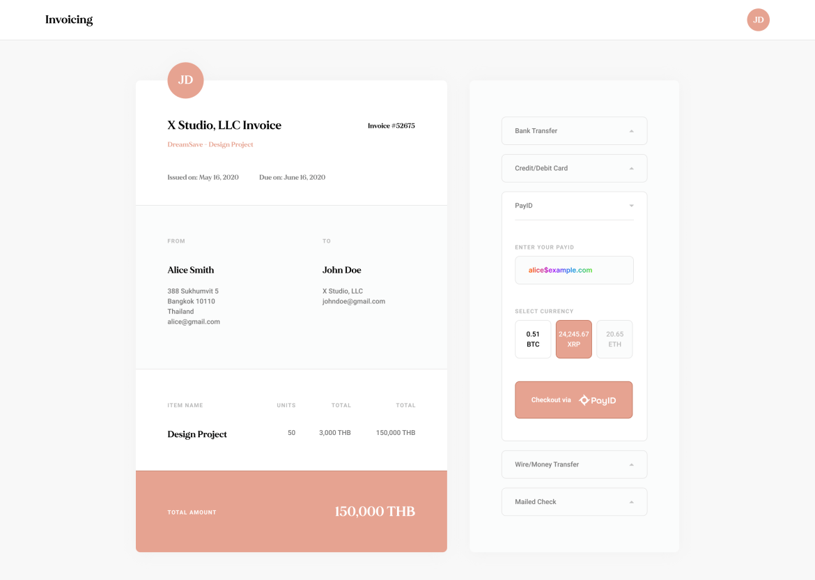 Mockup of Ripple's PayID invoicing system