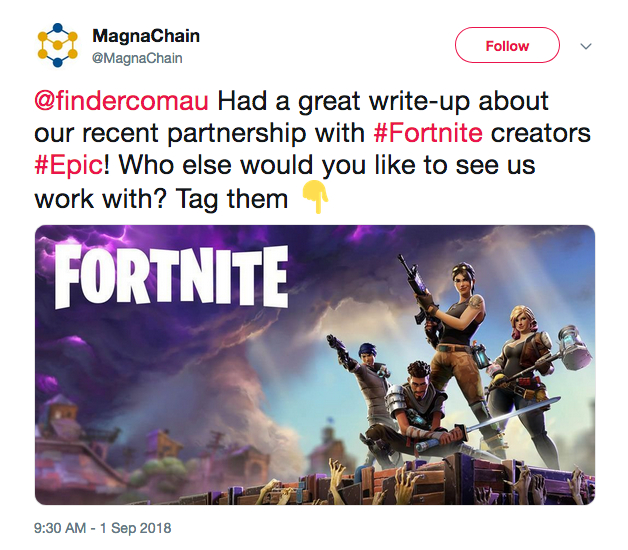 "MagnaChain pumping its ""partnership"" with Tim Sweeney and Epic Games in a since deleted tweet."