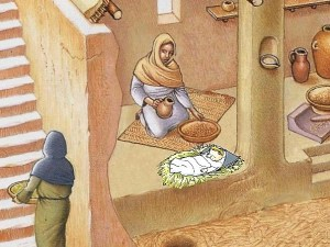 crib. Jesus' birth in Bethlehem, Jesus lay in a trough or hollow of straw carved in stone and not in a wooden crib, wood, straw, baby, diapers