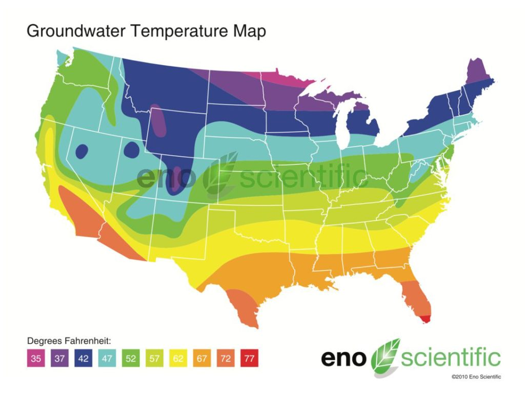 Groundwater Temperature Map Eno Scientific - Map-of-temperatures-in-the-us
