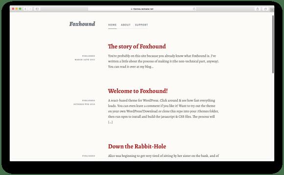 WordPress themes built with React - Foxhound react wordpress theme