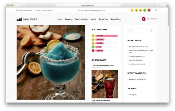 WordPress themes built with React - PressGrid-React-WordPress-Theme
