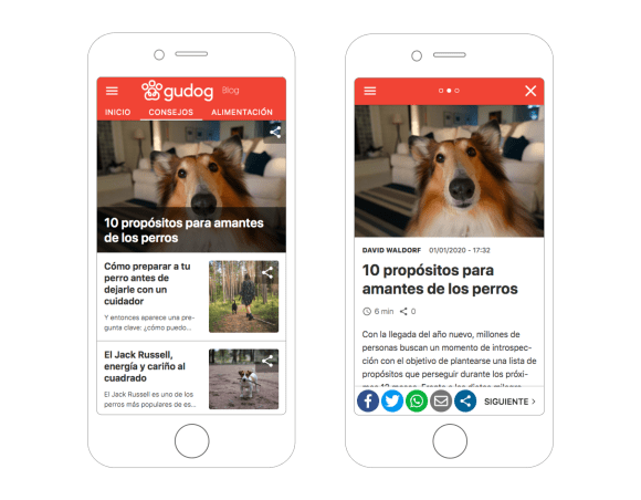 Gudog's blog on mobile using Frontity's theme.