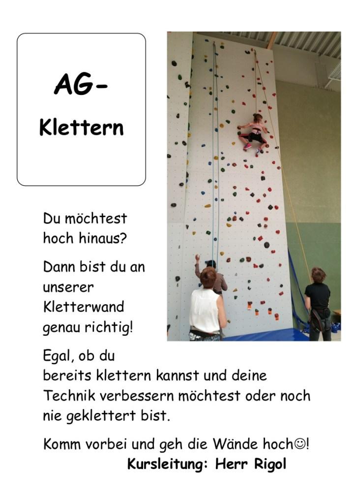 AG Klettern, Plakat, 2021