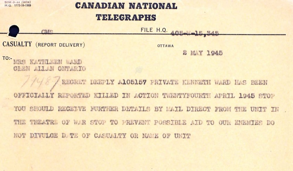 Bron: Service Files of the Second World War - War dead, 1939-1947, Library and Archives Canada Ottawa