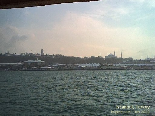 During our one-day snow-bound layover in Istanbul, this was our view from a ferry on the Bosporus River.