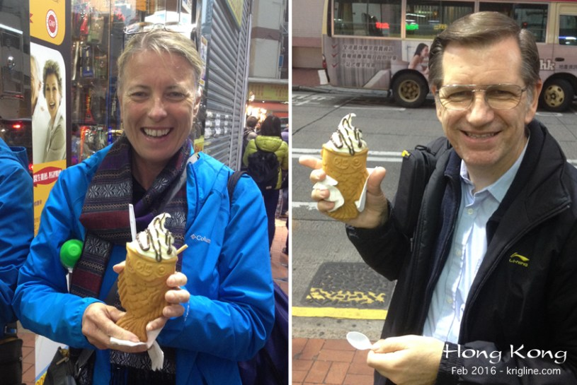 I wanted to treat Dori to something unique, and found this on line--and right around the corner from our home in Mongkok. The cone is shaped like a fish, and it's filled with a tasty frozen yogurt/custard concoction. Not bad! [Shop G18, G/F, Yan On Bldg, 1 Kwong Wah St, Mong Kok]