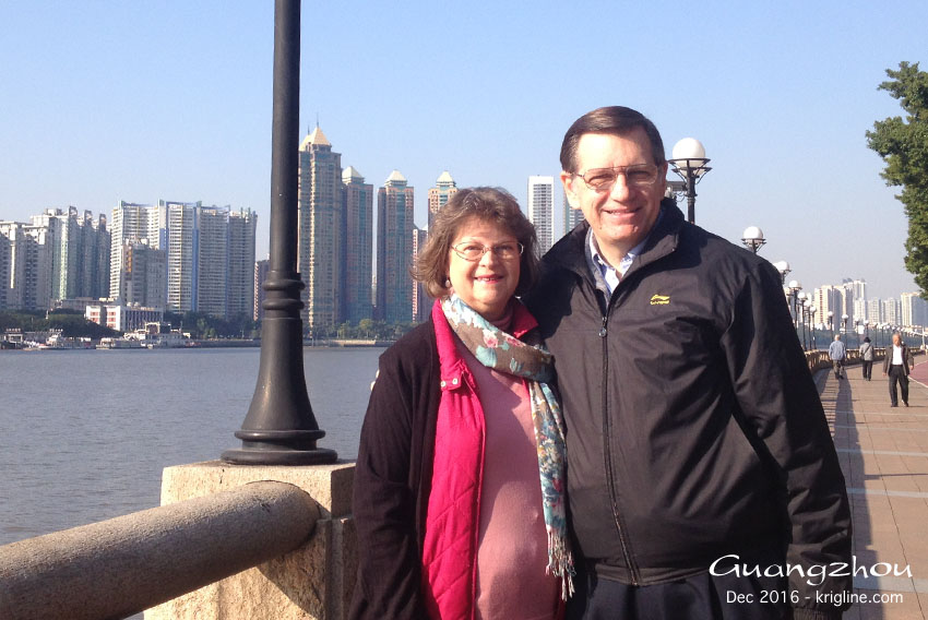 """Michael and Vivian by the Pearl River in Guangzhou. This was Vivian's first trip to """"Canton"""" (Michael's fourth)."""