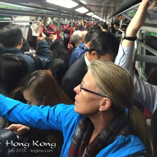 The best way to get around HK is the subway. I've heard that each train holds almost 3000 people, swiftly carrying the masses in all directions, underground.