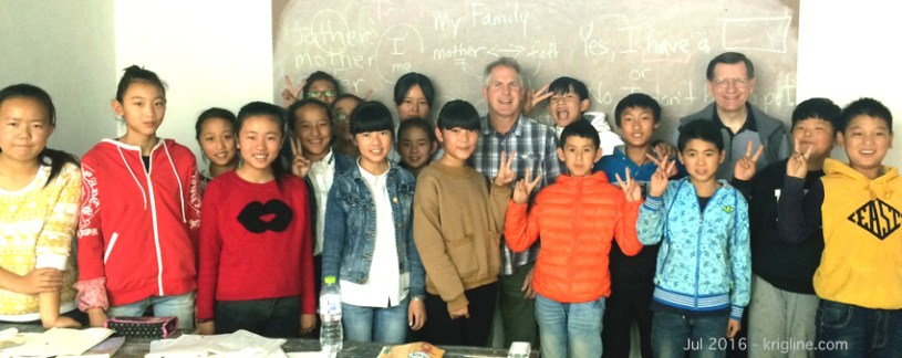 """One of the classes posed for this picture. Everyone seemed grateful that """"the foreigners"""" came all the way out there to give these young people the rare chance to interact with a native speaker."""