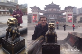 "Monday was a ""day off,"" so Vivian and I went to see some of the local sights. We were enamored with this Chinese ""lion"" and the Tang-dynasty style hotel behind it. The pictures turned out pretty well, though you can see that the air isn't as clear as it was when I visited the ""new campus""."