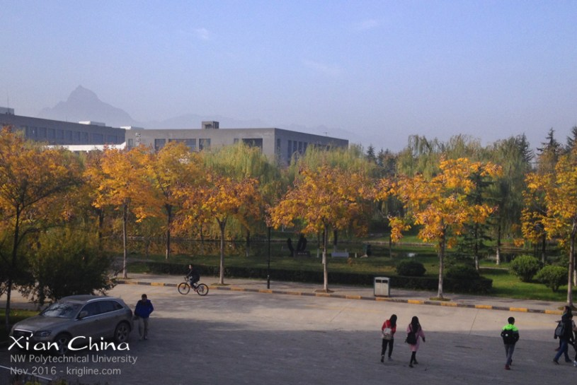 "Our first stop this trip was to visit the ""new campus"" of NPU (it was under construction when I worked there). We really enjoyed seeing the beautiful fall leaves (which we don't have in Hong Kong). The campus is at the edge of the city near the beautiful mountains, which unfortunately give the pollution no route of escape! But for our first two days, the air was clear and the sky was blue."